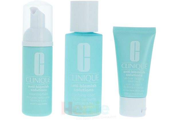 Clinique Anti Blemish Solution 3 Step System Cleansing Foam, Clarifying Lotion, Clearing Treatment 3 Stück