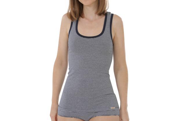 comazo Fairtrade Damen Unterhemd Achselträger marine geringelt 36