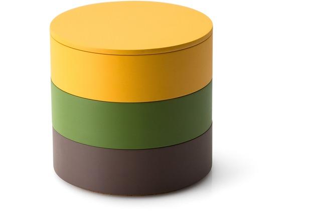 Continenta Aufbewahrungs-Set, 3 Dosen in umbra, smaragdgrün, maisgelb, Deckel maisgelb Ø 14 x 12,5 cm