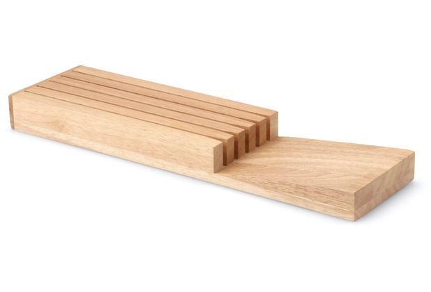 Continenta Messerblock für Schublade, für 5 Messer 39 x 11 x 3,5 cm Gummibaumholz