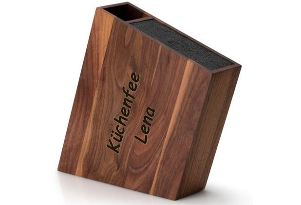 Continenta Messerblock MIT GRAVUR (z.B. Namen) mit flex. Einsatz & Utensilienbehälter schräg, Walnuss 31 x 8 cm