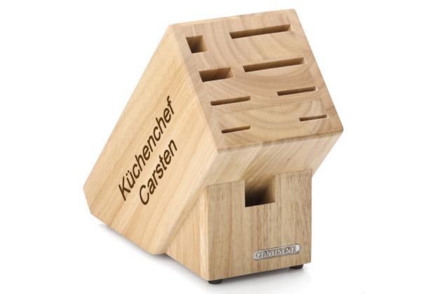 Continenta Messerblock MIT GRAVUR (z.B. Namen) aus Holz mit Scherenschlitz