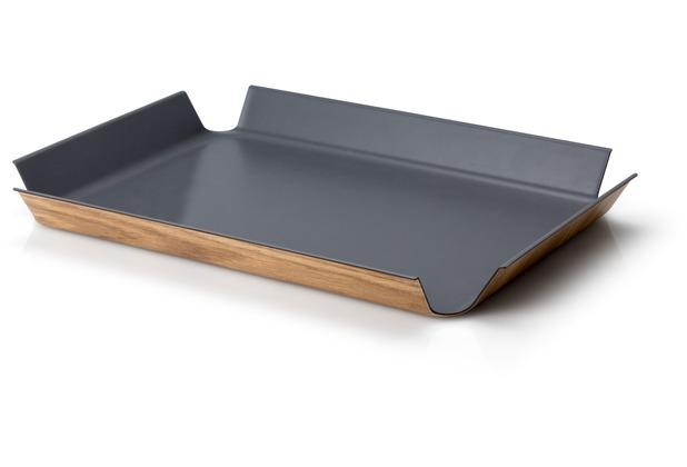 Continenta Rutschfestes Tablett, grau 41 x 29,5 cm