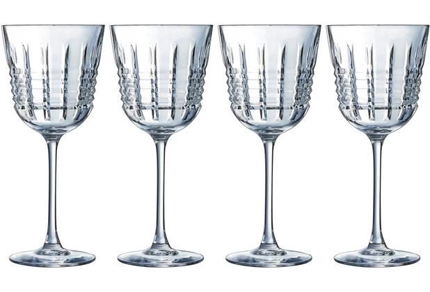 Cristal d\'Arques Rendez-Vous, Rotweingläser 4er Set aus hochwertigem Kristallglas, 4 Weingläser à 35 cl, Kwarx-Glas