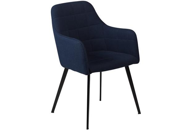 DAN FORM Embrace Stuhl Midnight Blau Stoff Schwarze Beine