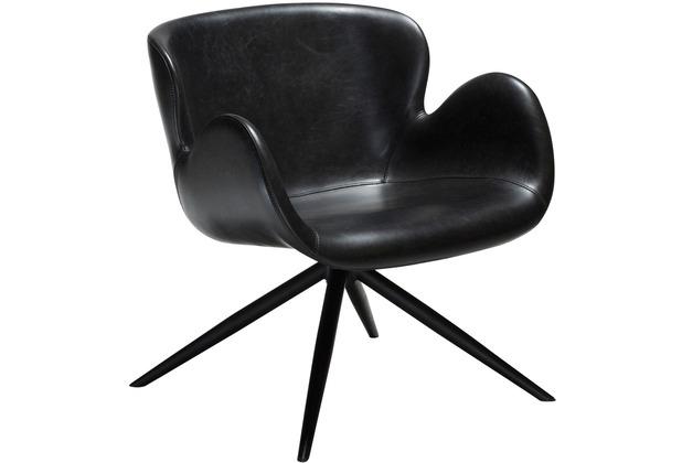 DAN-FORM Gaia Sessel Vintage Schwarz Kunstleder, Schwarze Beine