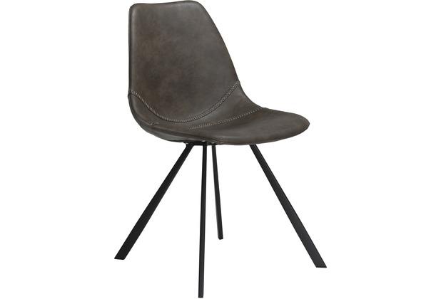 DAN-FORM Pitch Stuhl Vintage Grau Kunstleder, Schwarze Beine