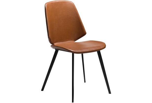 DAN-FORM Swing Stuhl Vintage Hellbraun Kunstleder, Schwarze Beine