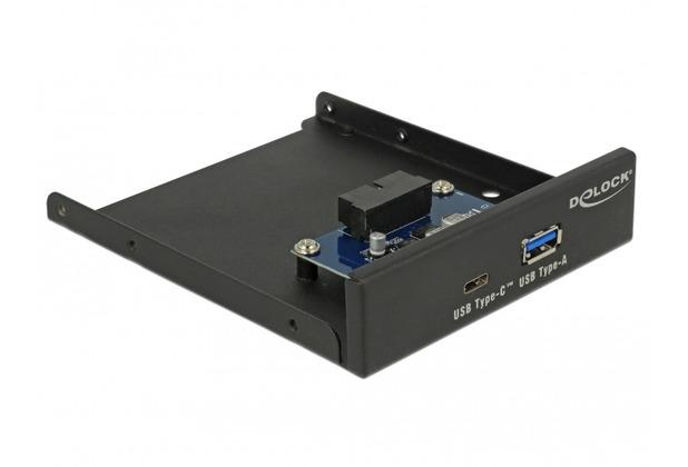 DeLock 3.5 USB 3.1 Gen 1 Front Panel 1 x USB Type-C™ + 1 x USB Typ-A