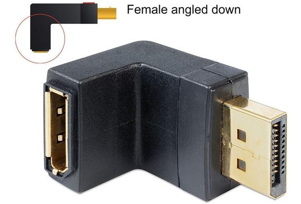 DeLock Adapter Displayport 1.1 Stecker > Displayport Buchse female angled down