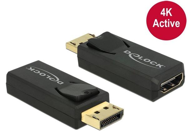 DeLock Adapter DisplayPort 1.2 Stecker > HDMI Buchse schwarz