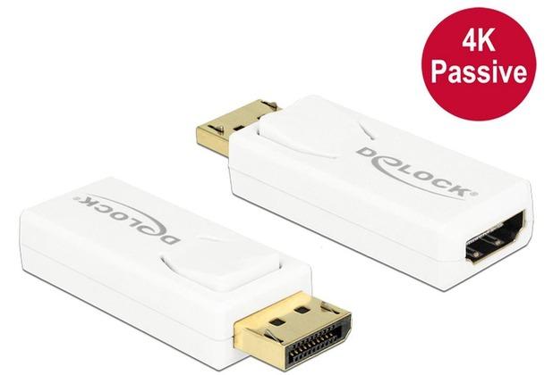 DeLock Adapter DisplayPort 1.2 Stecker > HDMI Buchse weiß