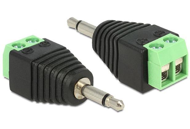 DeLock Adapter Klinke Stecker 3,5 mm > Terminalblock 2 Pin