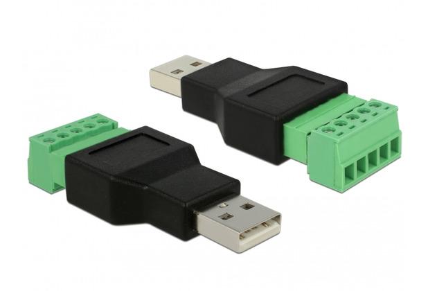 DeLock Adapter Terminalblock > USB 2.0 Typ-A Stecker 2-teilig