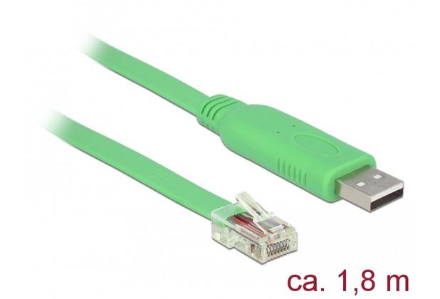 DeLock Adapter USB 2.0 Typ-A Stecker > 1 x Seriell RS-232 RJ45 Stecker 1,8 m