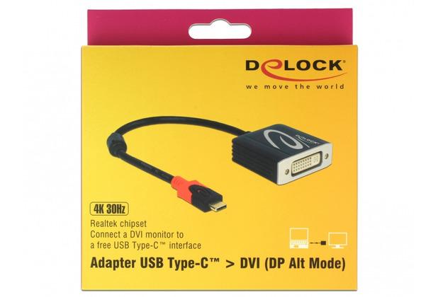 DeLock Adapter USB Type-C™ Stecker > DVI Buchse (DP Alt Mode) 4K 30 Hz