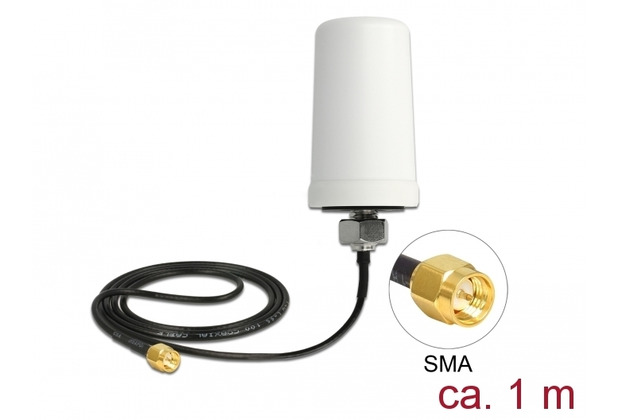 DeLock Antenne LTE SMA St 2,0 dBi 1 m omnidirektional outdoor weiß
