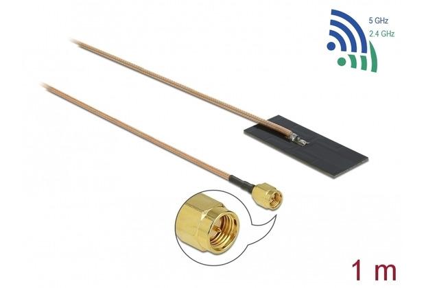 DeLock Antenne WLAN SMA Stecker 802.11 ac/ax/a/h/b/g/n 0,5 - 1,2 dBi 1 m