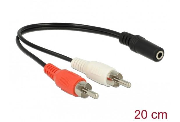 DeLock Audio Kabel 2 x Cinchstecker zu 1 x 3,5 mm 3 Pin Klinkenbuchse 20 cm