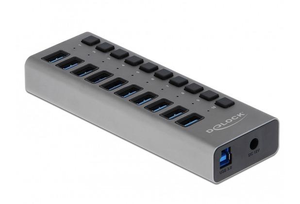 DeLock Externer USB 3.0 Hub mit 10 Ports + Schalter