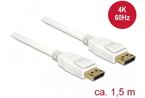 DeLock Kabel DisplayPort 1.2 Stecker > DisplayPort Stecker 1,5 m weiß 4K