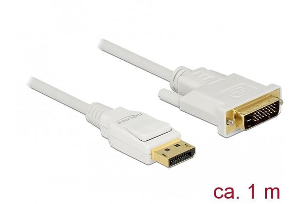 DeLock Kabel DisplayPort 1.2 Stecker > DVI 24+1 Stecker 1 m weiß