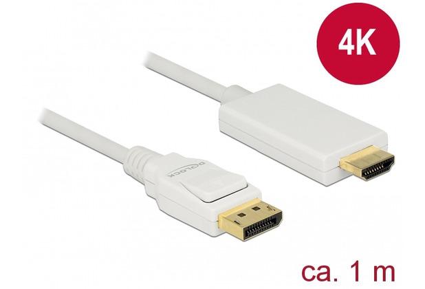 DeLock Kabel DisplayPort 1.2 Stecker > HDMI-A Stecker 1 m weiß 4K