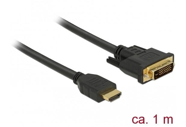 DeLock Kabel DVI 24+1 Stecker > HDMI-A Stecker 1,0 m