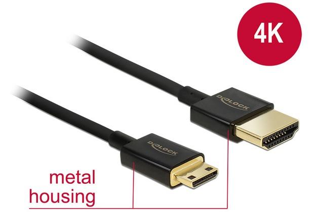 DeLock Kabel HDMI A Stecker > HDMI Mini C Stecker 1 m Slim