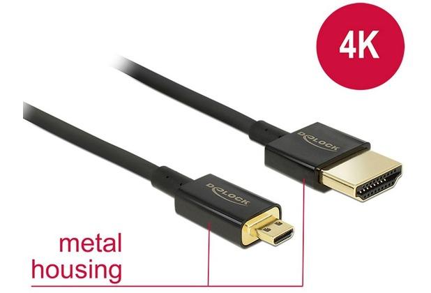 DeLock Kabel High Speed HDMI mit Ethernet - HDMI-A Stecker > High Speed HDMI Micro-D