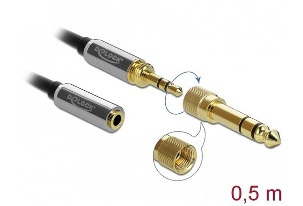 DeLock Kabel Klinke 3,5 mm St > Bu mit 6,35 mm Schraubadapter 0,5 m schwarz
