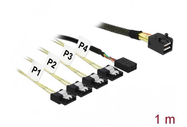 DeLock Kabel Mini SAS HD SFF-8643 > 4 x SATA 7 Pin + Sideband 1 m Metall Delock