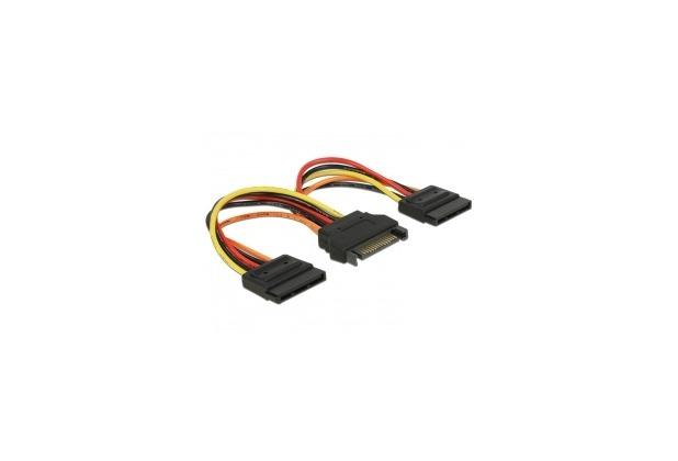 DeLock Kabel Power SATA 15 Pin Stecker > 2 x Power SATA 15