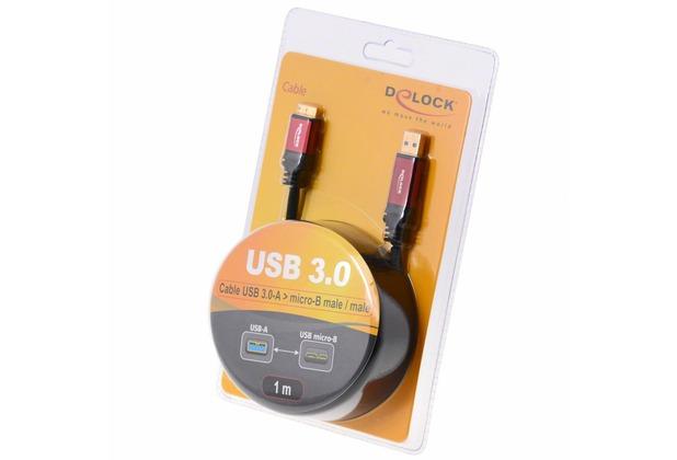 DeLock Kabel USB 3.0 rot Premium A > micro-B 1.0 m