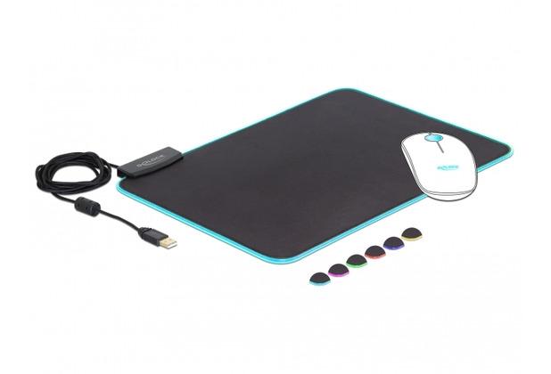 DeLock Mauspad RGB klein USB-A Delock schwarz
