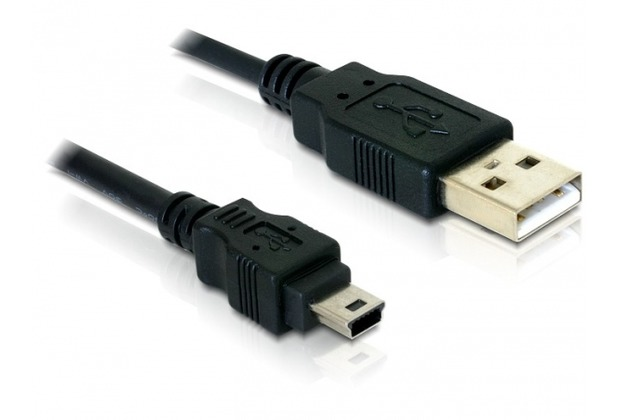 DeLock Mini-USB Lade- und Datenkabel 0,7 m, schwarz