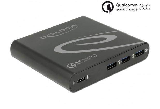 DeLock Netzteil extern USB Type-C™ PD + 3x USB A Quickcharge3.0 85W schwarz