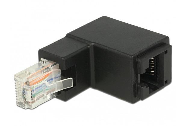 DeLock Netzwerk Adapter RJ45 Stecker/Buchse oben gewinkelt Cat.6 UTP