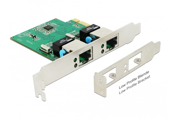 DeLock PCIe x1 Gigabit LAN 2x RJ45 +Low Profile RTL8111H