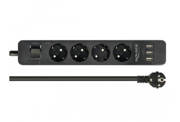 DeLock Steckdosenleiste 4-fach mit Schalter und 3 x USB schwarz