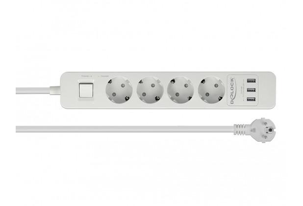 DeLock Steckdosenleiste 4-fach mit Schalter und 3 x USB weiß