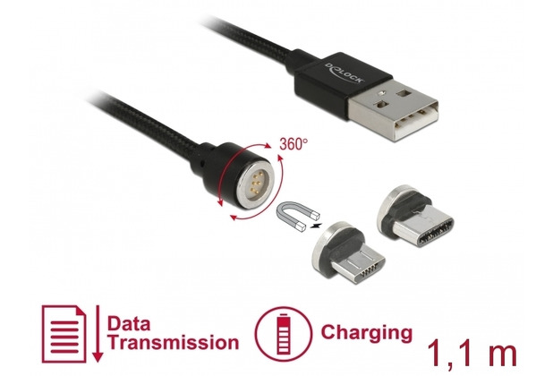 DeLock USB Lade/Datenkabel Magnetic Micro USB-B / USB Type-C 1,10 m