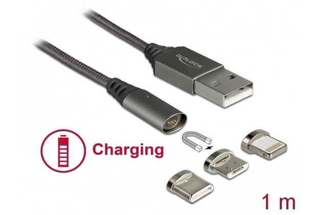 DeLock USB Ladekabel Magnetic 3in1 Lightning/Micro USB-B/USB Type-C 1m