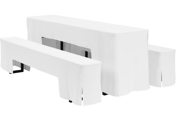 Dena Festzeltgarnitur Hussen Arcade 220 x 50 cm, weiß
