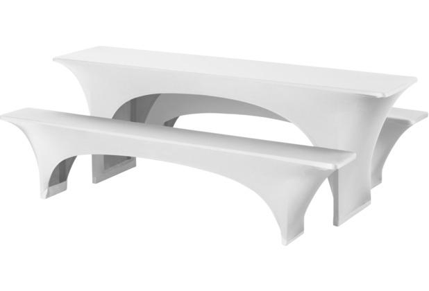 Dena Festzeltgarnitur Hussen Fortune stretch 220 x 50 cm, weiß