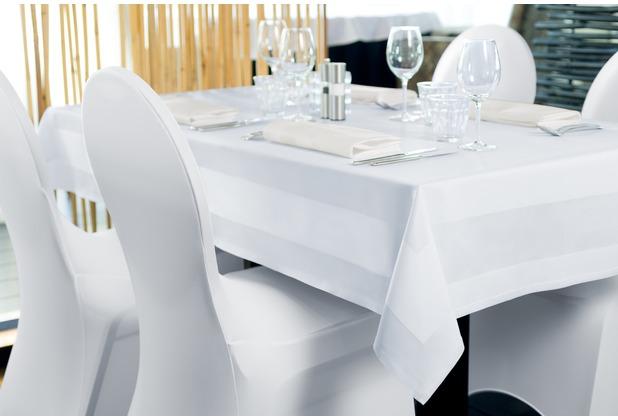 Dena Tischdecke Damast mit Atlaskante 100 x 100 cm, weiß