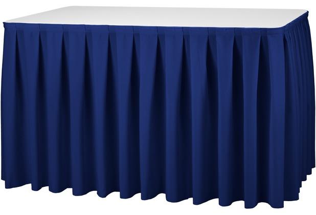 Dena Tischskirting boxpleat blau inklusive Skirtingbügel hell 410 x 73 cm