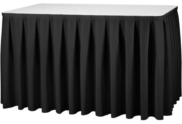 Dena Tischskirting boxpleat 410 x 73 cm, schwarz inklusive Skirtingbügel