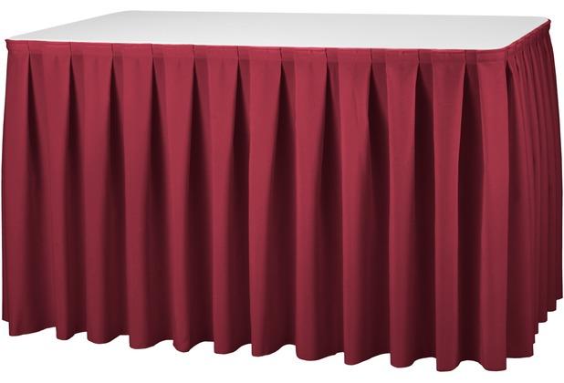 Dena Tischskirting boxpleat, rot inklusive Skirtingbügel 490 x 73 cm
