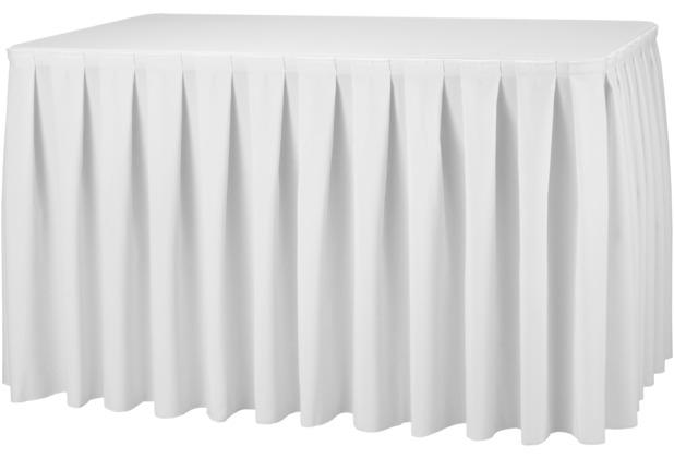 Dena Tischskirting boxpleat 580 x 73 cm, weiß inklusive Skirtingbügel